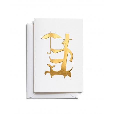 Greeting Card: Man with umbrella - Furniture by Designcollectors