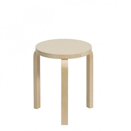 60 Stool 3 Legs Natural Lacquered - Artek - Alvar Aalto - Furniture by Designcollectors