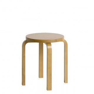 E60 Stool 4 Legs Natural Lacquered