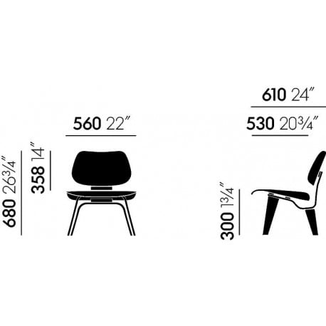 dimensions Plywood Group LCM special edition - vitra - Charles & Ray Eames - Arm & Lounge Chairs - Furniture by Designcollectors