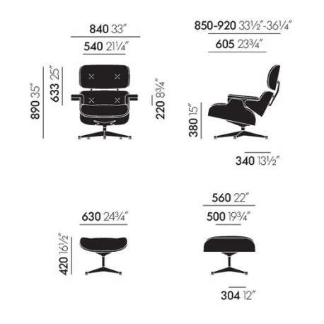 dimensions Lounge Chair & Ottoman (fabric cover) - vitra - Charles & Ray Eames - Arm & Lounge Chairs - Furniture by Designcollectors