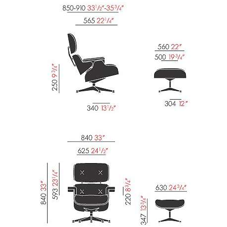 dimensions Lounge Chair & Ottoman (classic dimensions) - vitra - Charles & Ray Eames - Chairs - Furniture by Designcollectors
