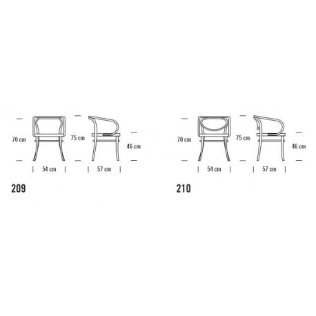 dimensions 209 Chair Pure Materials - Thonet - Thonet Design Team - Dining Chairs - Furniture by Designcollectors