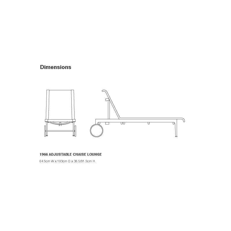 afmetingen Schultz Adjustable Chaise Lounge Ligzetel Outdoor - Knoll - Richard Schultz - Stoelen - Furniture by Designcollectors