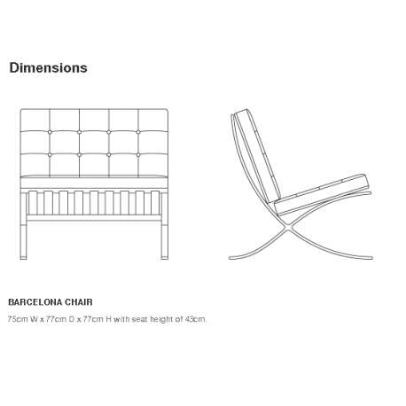 dimensions Barcelona Chair - Knoll - Ludwig Mies van der Rohe - Chairs - Furniture by Designcollectors