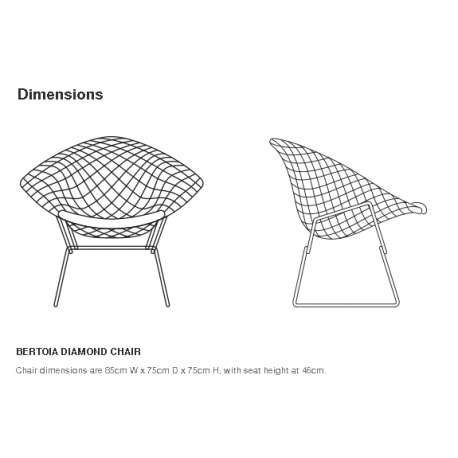 dimensions Bertoia Diamond Armchair unupholstered - Knoll - Harry Bertoia - Chairs - Furniture by Designcollectors
