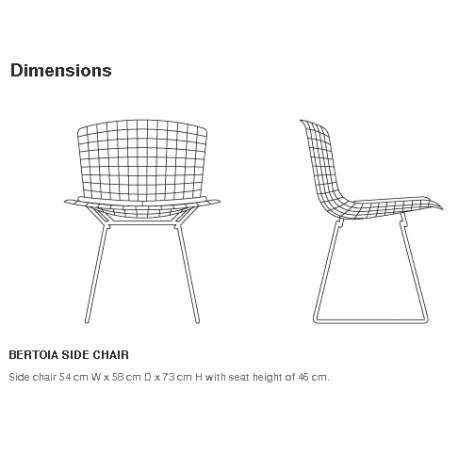 dimensions Bertoia Side Chair unupholstered - Knoll - Harry Bertoia - Chairs - Furniture by Designcollectors