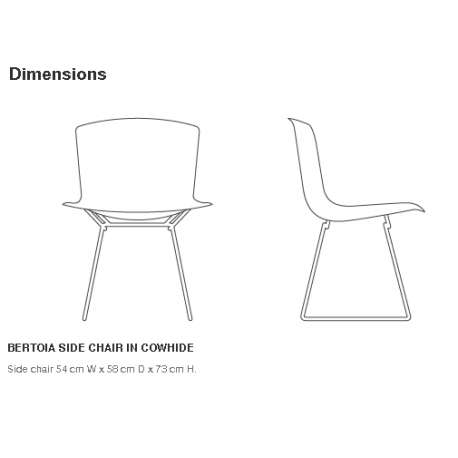 dimensions Bertoia Side Chair in cowhide - Knoll - Harry Bertoia - Chairs - Furniture by Designcollectors