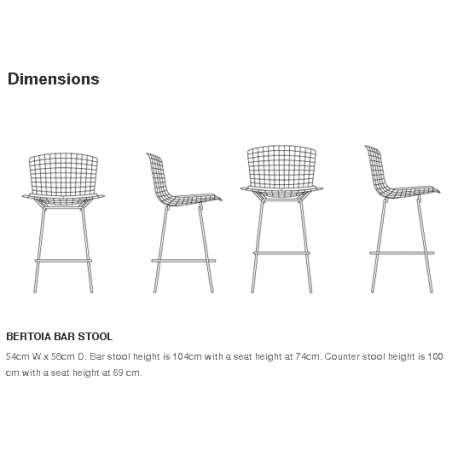 dimensions Bertoia Bar Stool unupholstered - Knoll - Harry Bertoia - Chairs - Furniture by Designcollectors