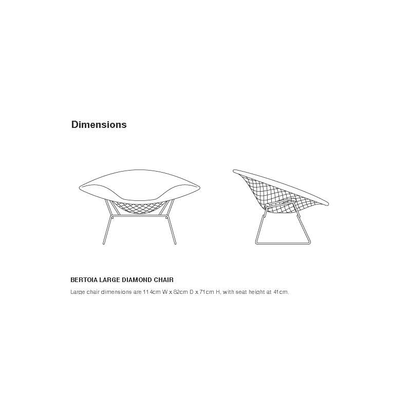 dimensions Bertoia Large Diamond Armchair - Knoll - Harry Bertoia - Chairs - Furniture by Designcollectors
