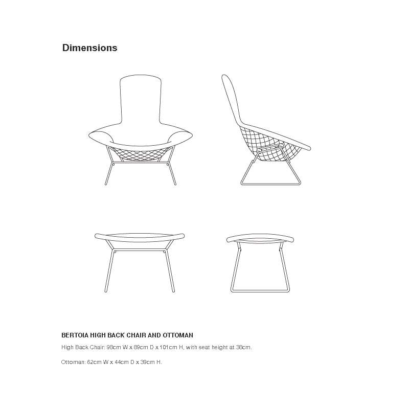 dimensions Bertoia High Back Armchair - Knoll -  - Chairs - Furniture by Designcollectors
