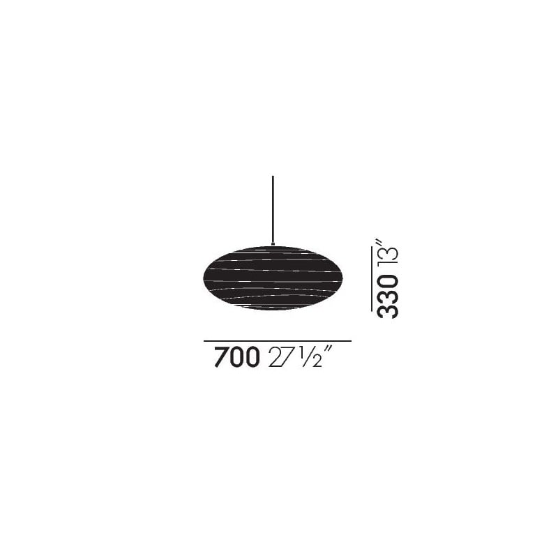 dimensions Akari 70EN Ceiling Lamp - vitra - Isamu Noguchi - Lighting - Furniture by Designcollectors