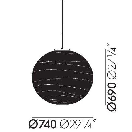 dimensions Akari 75D Ceiling Lamp - vitra - Isamu Noguchi - Vitra Akari Light Sculptures - Furniture by Designcollectors