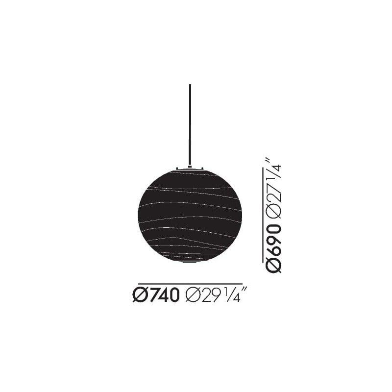 dimensions Akari 75D Ceiling Lamp - vitra - Isamu Noguchi - Lighting - Furniture by Designcollectors
