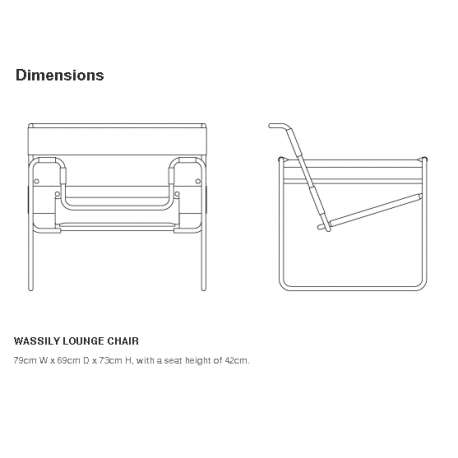 dimensions Wassily Lounge Chair - Knoll - Marcel Breuer - Chairs - Furniture by Designcollectors