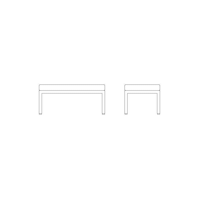 afmetingen Florence Knoll Bench Bank - Knoll - Florence Knoll - Zitbanken en krukjes - Furniture by Designcollectors