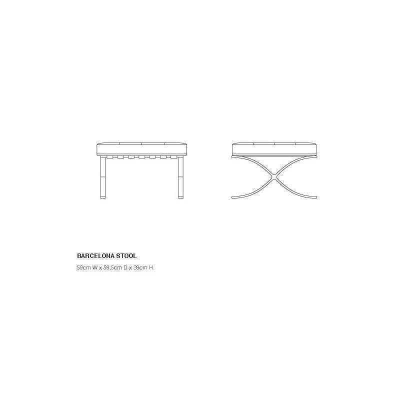 dimensions Barcelona Stool relax with cushion - Knoll - Ludwig Mies van der Rohe - Chairs - Furniture by Designcollectors
