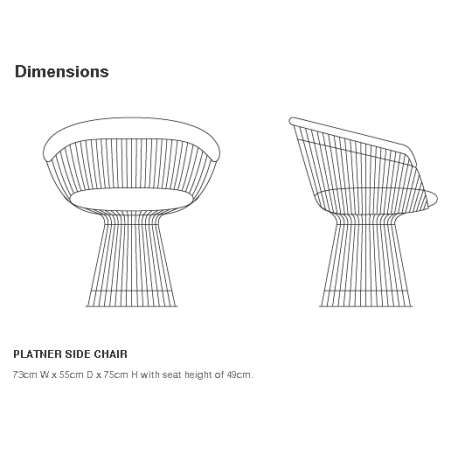 dimensions Platner Side Chair - Knoll - Warren Platner - Chairs - Furniture by Designcollectors