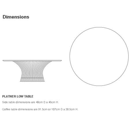 dimensions Platner Coffee Table - Knoll - Warren Platner - Tables - Furniture by Designcollectors