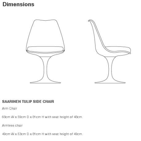dimensions Tulip Chair white shell and base with swivel - Knoll - Eero Saarinen - Chairs - Furniture by Designcollectors