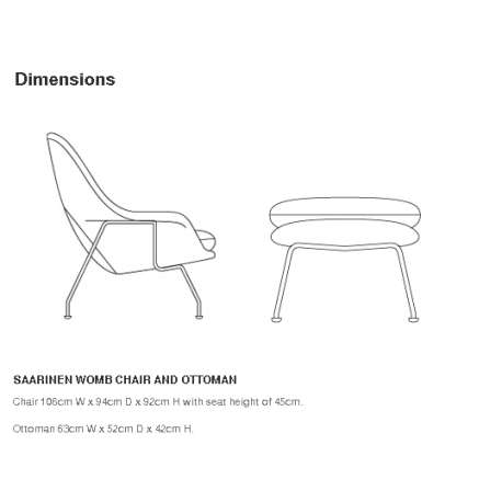 dimensions Womb Chair Relax Ottoman - Knoll - Eero Saarinen - Arm & Lounge Chairs - Furniture by Designcollectors