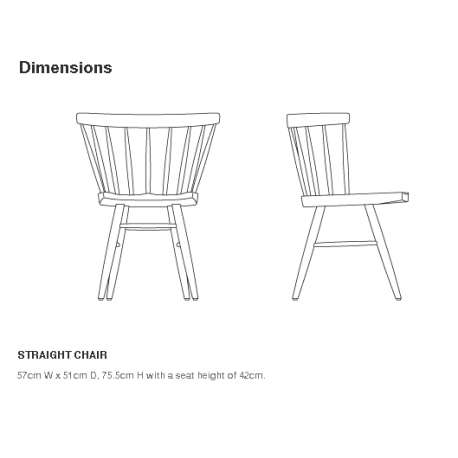 dimensions Nakashima Straight Chair - Knoll - George Nakashima  - Chairs - Furniture by Designcollectors