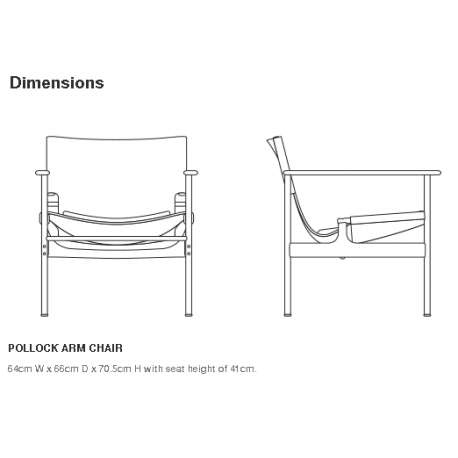 dimensions Pollock Armchair with cushion - Knoll - Charles Pollock - Chairs - Furniture by Designcollectors