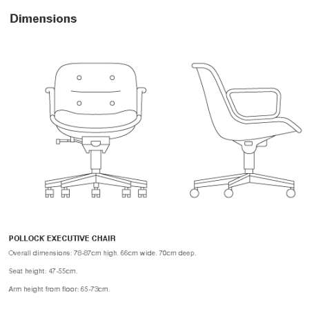 dimensions Pollock Executive Armchair - Knoll - Charles Pollock - Chairs - Furniture by Designcollectors