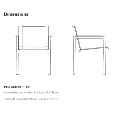 dimensions Schultz Dining Chair with arms - Knoll - Richard Schultz - Chairs - Furniture by Designcollectors