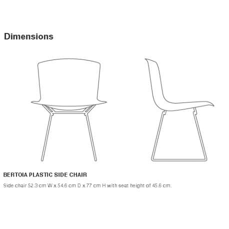 dimensions Bertoia Plastic Side Chair Outdoor - Knoll - Harry Bertoia - Outdoor - Furniture by Designcollectors
