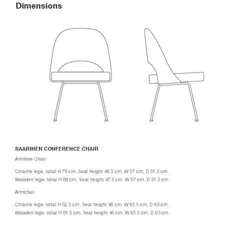 dimensions Saarinen Conference Chair - Knoll - Eero Saarinen - Chairs - Furniture by Designcollectors
