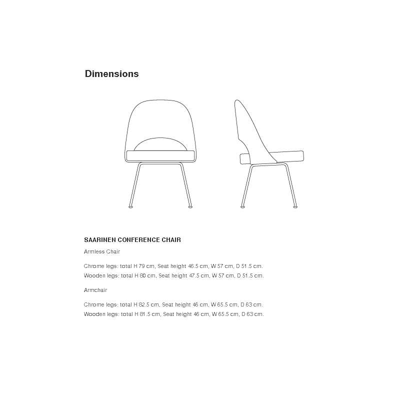 dimensions Saarinen Conference Chair: metal legs - Knoll - Eero Saarinen - Chairs - Furniture by Designcollectors