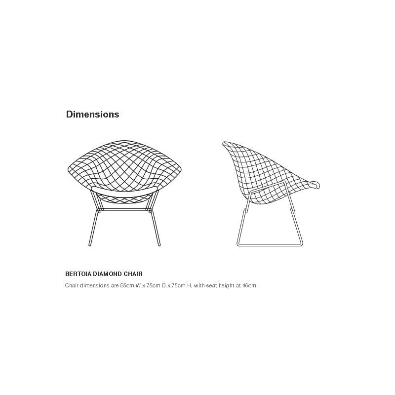 dimensions Bertoia Diamond Armchair unupholstered: Outdoor - Knoll - Harry Bertoia - Chairs - Furniture by Designcollectors