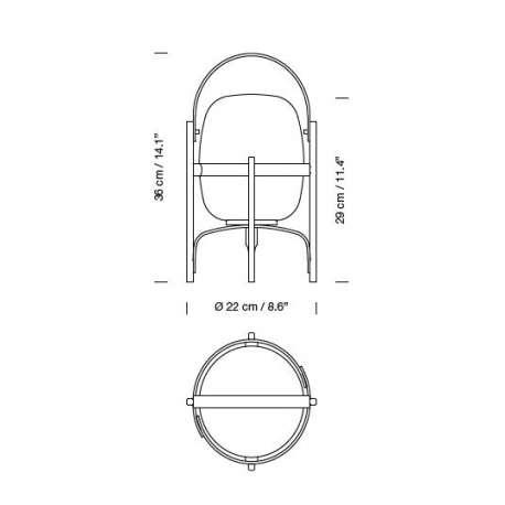 dimensions Cestita Bateria Table Lamp - Santa & Cole - Miguel Milá - Lighting - Furniture by Designcollectors