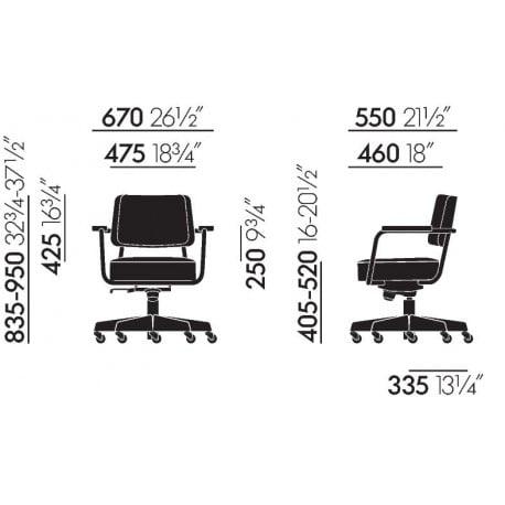 dimensions Fauteuil Direction Pivotant - vitra - Jean Prouvé -  - Furniture by Designcollectors