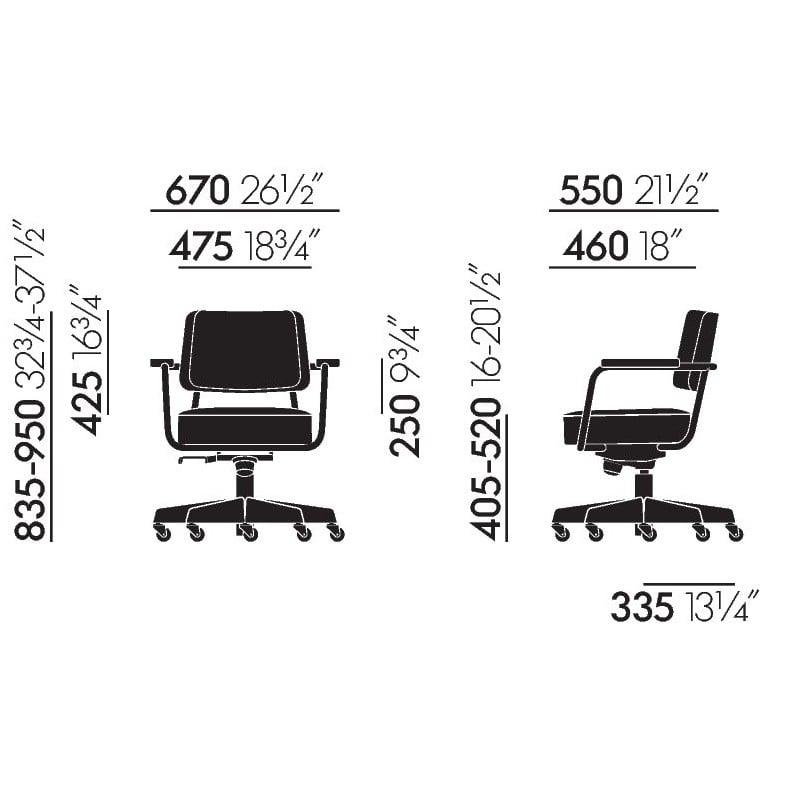 afmetingen Prouvé RAW Fauteuil Direction Pivotant - vitra - Jean Prouvé - Stoelen - Furniture by Designcollectors