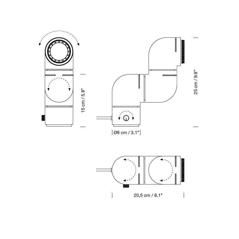 dimensions Tatu Lamp - Santa & Cole -  - Lighting - Furniture by Designcollectors