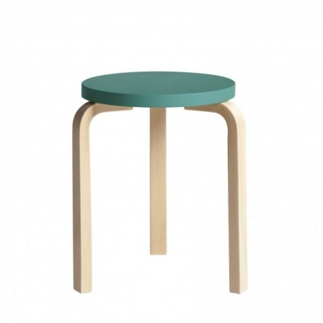 60 Stool 3 Legs Natural Lacquered Turquoise - end of life - Furniture by Designcollectors