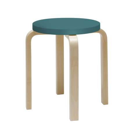E60 Stool 4 Legs Natural Lacquered  Turquoise - end of life - Furniture by Designcollectors