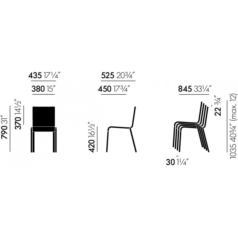 dimensions MVS.03 Chair (Without Armrests) - vitra - Maarten van Severen - Home - Furniture by Designcollectors