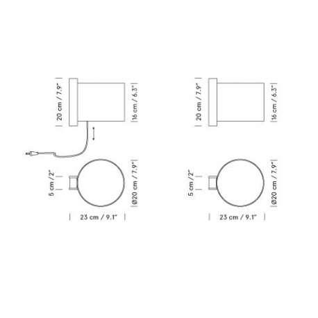 dimensions TMM corto - Santa & Cole - Miguel Milá - Home - Furniture by Designcollectors