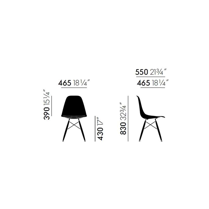 dimensions Eames Fiberglass Chairs: DSW - vitra - Charles & Ray Eames - Fiberglass - Furniture by Designcollectors