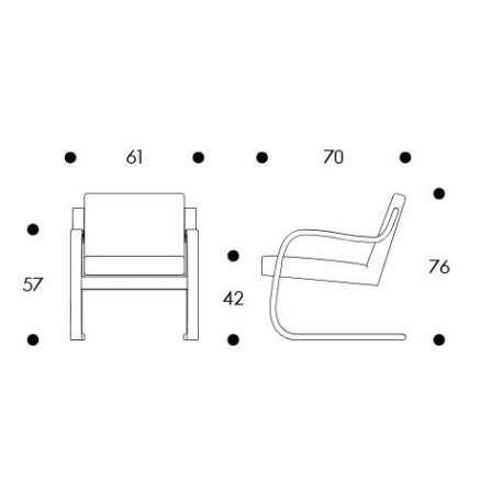 dimensions Armchair 402 - artek - Alvar Aalto - Arm & Lounge Chairs - Furniture by Designcollectors