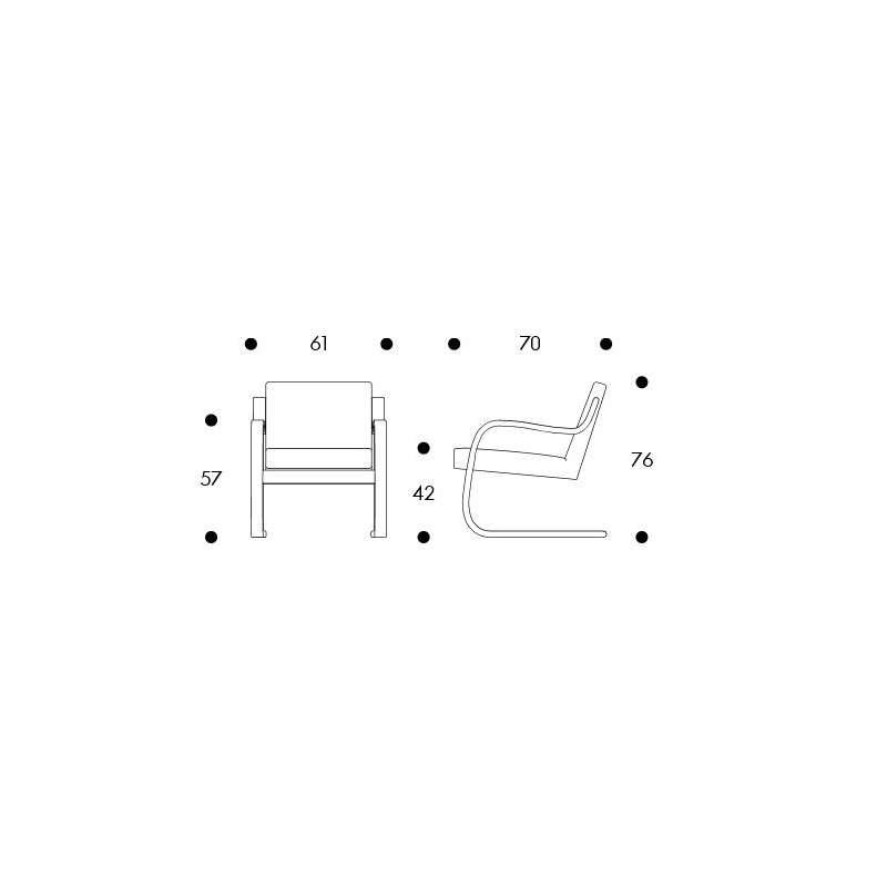 dimensions Armchair 402 - artek - Alvar Aalto - Aalto korting 10% - Furniture by Designcollectors