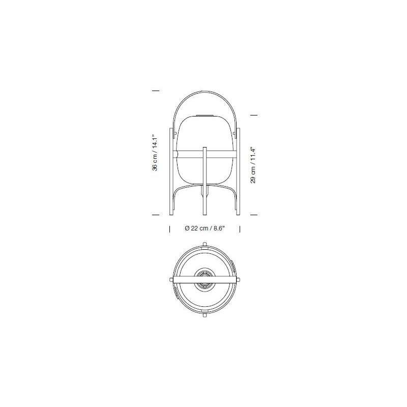 dimensions Cestita Table Lamp - Santa & Cole - Miguel Milá - Home - Furniture by Designcollectors