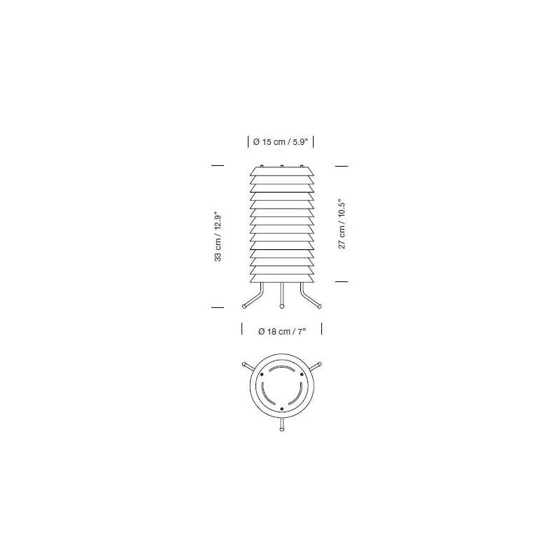 dimensions Maija 15 White Table Lamp - Santa & Cole - Ilmari Tapiovaara - Home - Furniture by Designcollectors