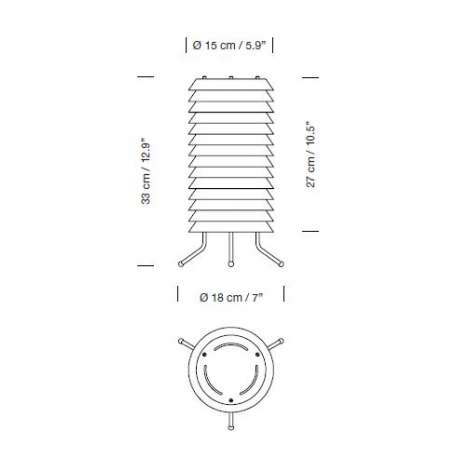 dimensions Maija 15 Nude Rose Table Lamp - Santa & Cole - Ilmari Tapiovaara - Home - Furniture by Designcollectors