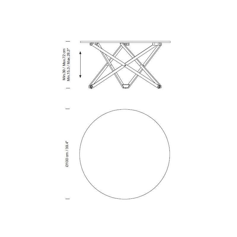 dimensions Subeybaja Adjustable Table - Santa & Cole - Robert Heritage - Tables - Furniture by Designcollectors