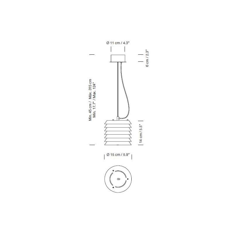 dimensions Maija 15 White Pendant Lamp - Santa & Cole - Ilmari Tapiovaara - Lighting - Furniture by Designcollectors