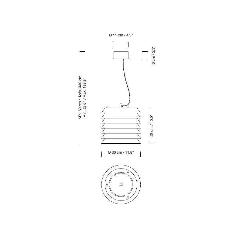 dimensions Maija 30 Pendant Lamp - Santa & Cole - Ilmari Tapiovaara - Home - Furniture by Designcollectors